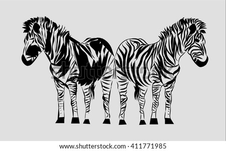 Line drawing zebra graphic design