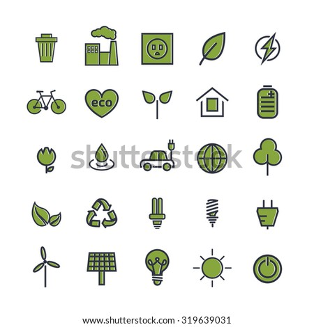 Line ecology icons. Vector set