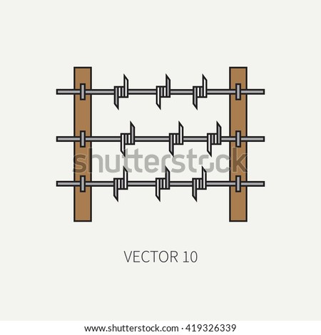 Line flat color vector military icon - barbed wire. Army equipment and weapons. Cartoon style. Vector illustration. Military and war icons. Infographic design elements for design.