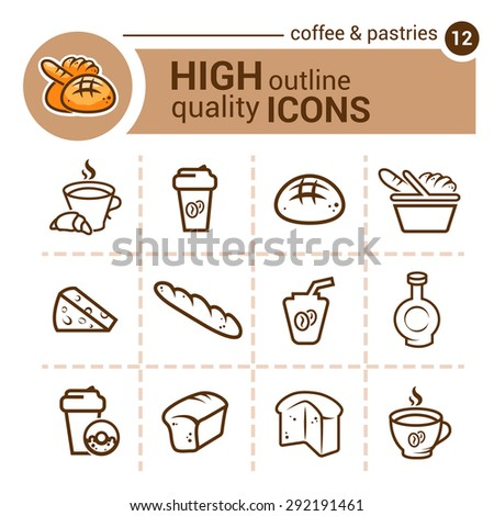 Line flat icons of coffee and pastrie, vector set. - stock vector