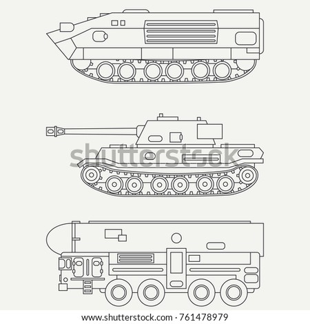 Line flat vector icon set infantry assault army tank. Military vehicle. Cartoon vintage style. Soldiers. Armored shell. Corps. Weaponry. Tow tractor unit. Simple. Illustration, element for design.