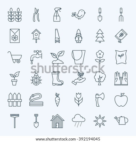 Line Gardening Tools Icons Set. Vector Set of Modern Thin Outline Nature and Flowers Spring Garden Items.