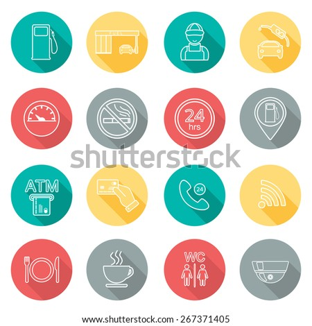 Line gas station icons. Flat design. Shadow. Vector illustration - stock vector