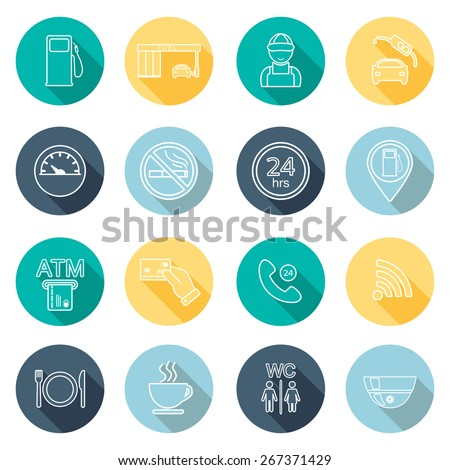 Line gas station icons. Flat design. Vector illustration - stock vector