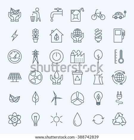 Line Green Energy Eco Icons Set. Vector Set of Modern Thin Outline Icons for Ecology and Nature Environment Items. - stock vector
