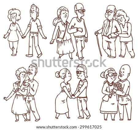 Line happy old couples set, vector - stock vector