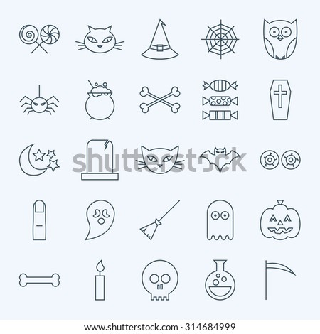 Line Holiday Halloween Icons Set. Vector Set of 25 October Holiday Modern Line Icons for Web and Mobile. Sweets and Treats Scary Icons Collection - stock vector