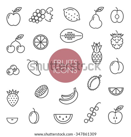 Line  icon collection. Set of different fruits and berries icons on a white background. Vector design elements for web and mobile