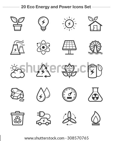 Line icon - Eco Energy and Power icons set, thick line - stock vector