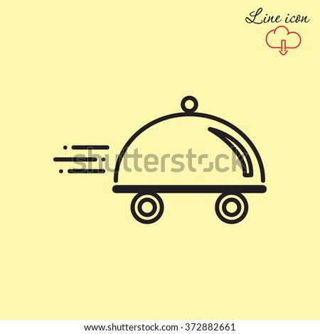 Line icon- food delivery - stock vector