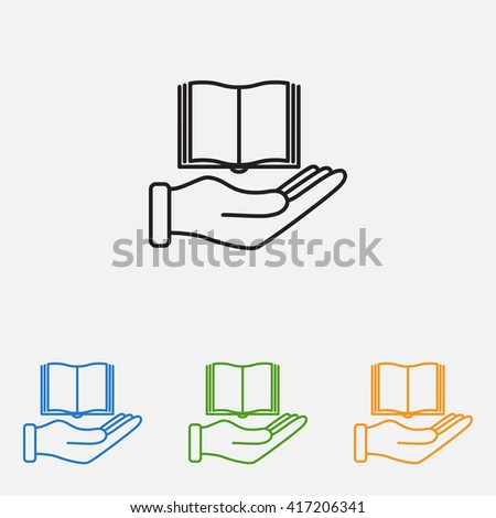 Line icon- Hand and book - stock vector