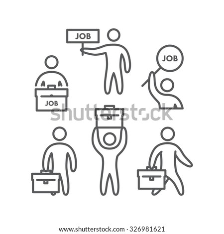 Line icon job search. Vector business symbol, logo and banner - stock vector