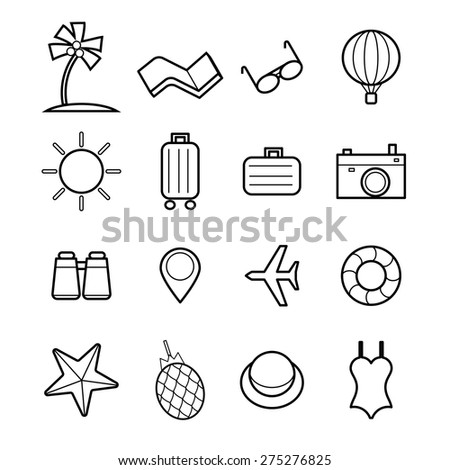 line icon linear style in travel symbol and tourism sign, vector illustration - stock vector
