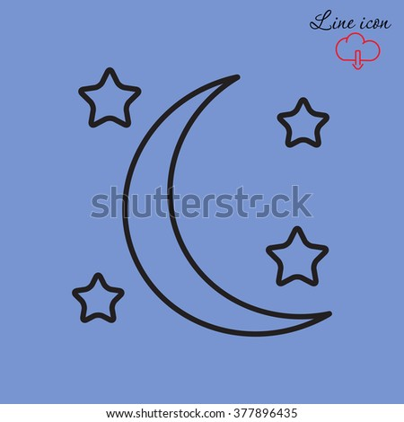 Line icon- moon and stars