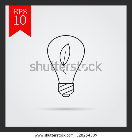 Line icon of environment friendly lightbulb with leaf inside