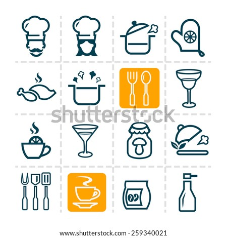 Line icon of food and drink, vector set. - stock vector