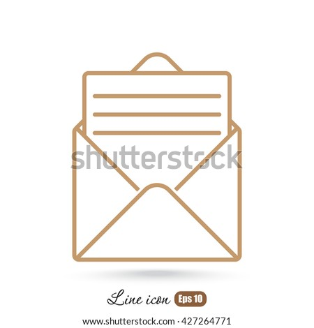 Line icon- open message - stock vector