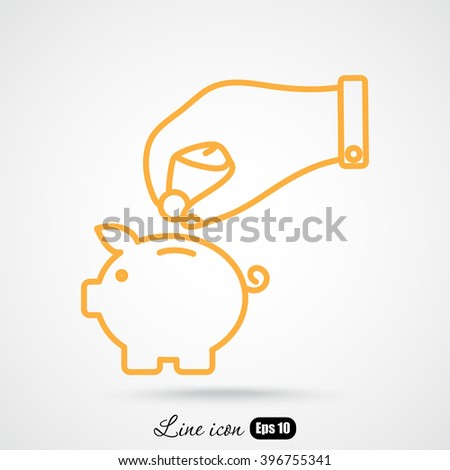 Line icon- piggy bank and hand