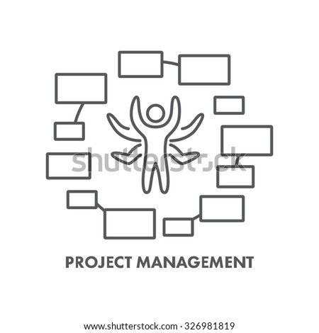 Line icon project management. Vector business symbol, logo and banner