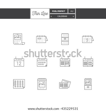 Line Icon Set of Printing objects elements. Print industry, typographic industry, booklet, pamphlet, business cards, calendar, folder, cotton bag, craft bag. Logo icons. Vector illustration - stock vector