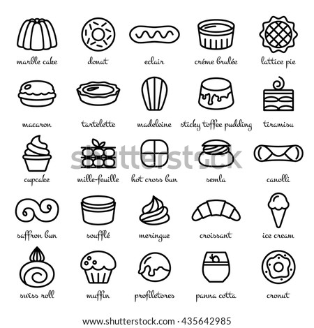 line icon set of world best desserts and sweets - stock vector