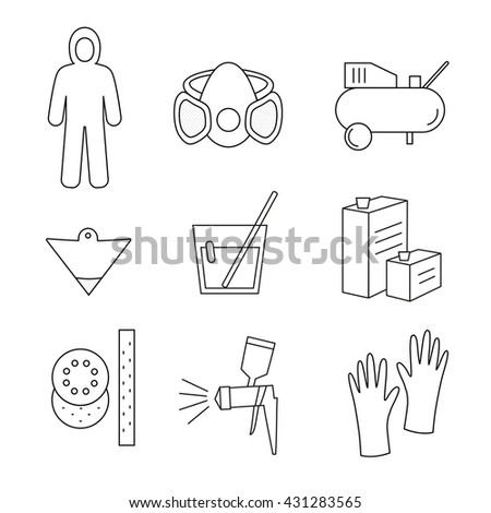 Line icon set painter equipments as compressor, protective suit, paint mask, gun, hardener, lacquer, gloves, sandpaper, strainer - stock vector