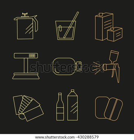 Line icon set selection of enamel - stock vector