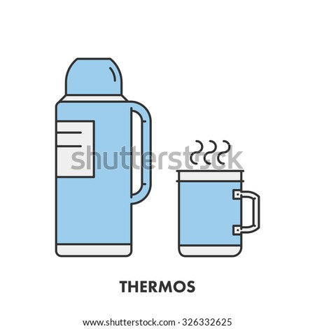 Line icon thermos in color. Vector linear logo for web and site - stock vector