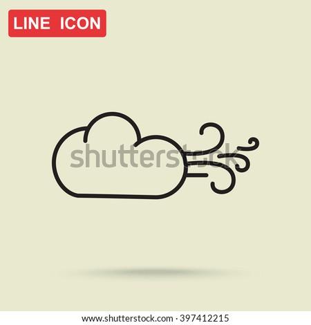 Line icon-  Wind - stock vector