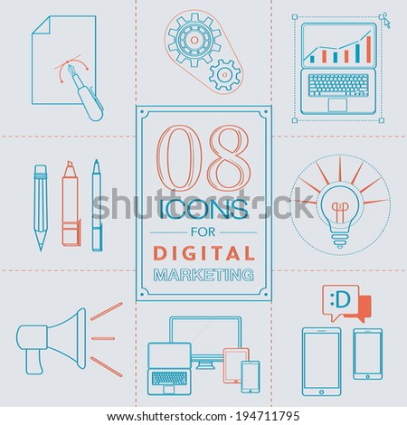 Line Icons for digital marketing. Vector sketch - stock vector