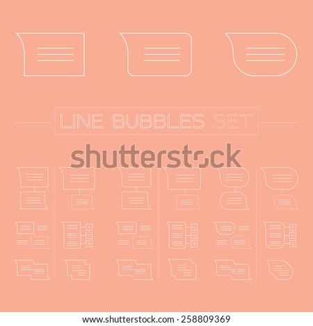 Line icons. Line icons set of bubbles for speech. Elements for design. Web icons. - stock vector