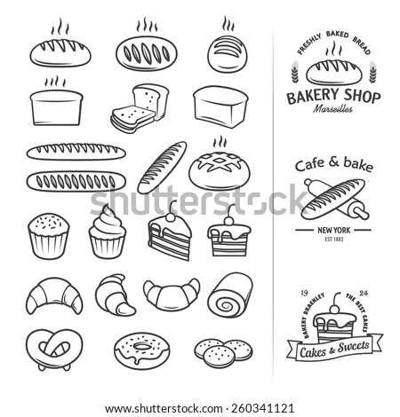 Line icons of bread and other bakery products from which you can create a cool vintage logo for groceries, bakeries, cakery, shops and restaurants. Editable vector set - stock vector