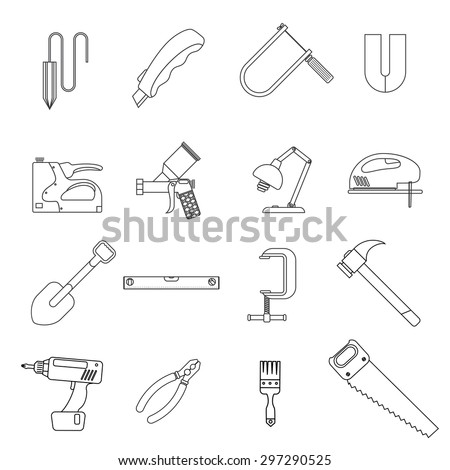 Line icons of tools. Contains lamp, level, clamp, stapler, magnet, airbrush and much more. Flat. White background - stock vector