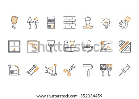 Line icons set- construction, home repair tools. Stock vector. - stock vector
