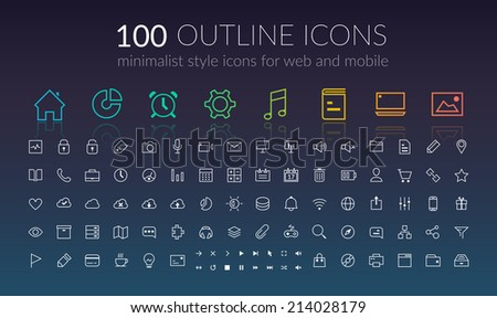 Line icons set. Design concept. Vector Illustration, eps10, contains transparencies. - stock vector