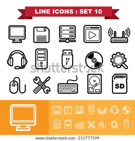 Line icons set 10 .Illustration eps 10 - stock vector