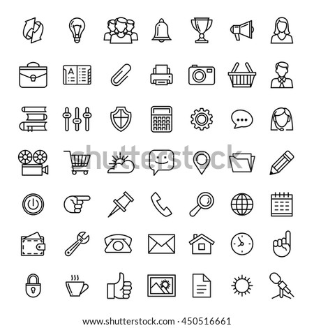 line icons set isolated illustration. Icons for business, management, finance, strategy, planning, analytics, banking, communication, social network, affiliate marketing. - stock vector