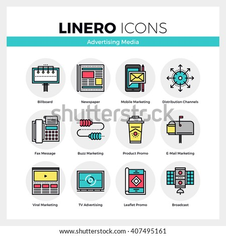 Line icons set of advertising media, marketing channels. Modern color flat design linear pictogram collection. Outline vector concept of mono stroke symbol pack. Premium quality web graphics material. - stock vector