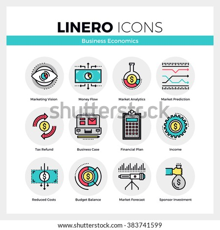 Line icons set of business economics and market analytics. Modern color flat design linear pictogram collection. Outline vector concept of stroke symbol pack. Premium quality web graphics material. - stock vector