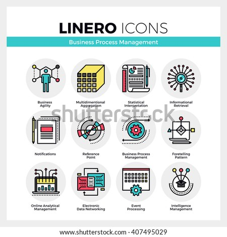 Line icons set of business process management features. Modern color flat design linear pictogram collection. Outline vector concept of mono stroke symbol pack. Premium quality web graphics material. - stock vector