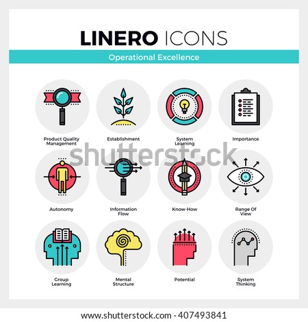 Line icons set of business system operational excellence. Modern color flat design linear pictogram collection. Outline vector concept of mono stroke symbol pack. Premium quality web graphics material - stock vector