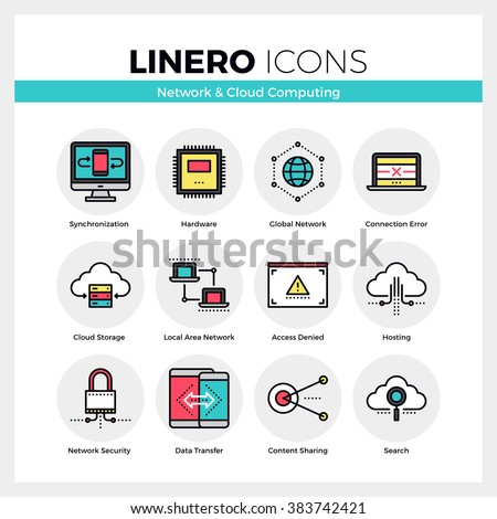 Line icons set of cloud computing, network server connection. Modern color flat design linear pictogram collection. Outline vector concept of stroke symbol pack. Premium quality web graphics material. - stock vector