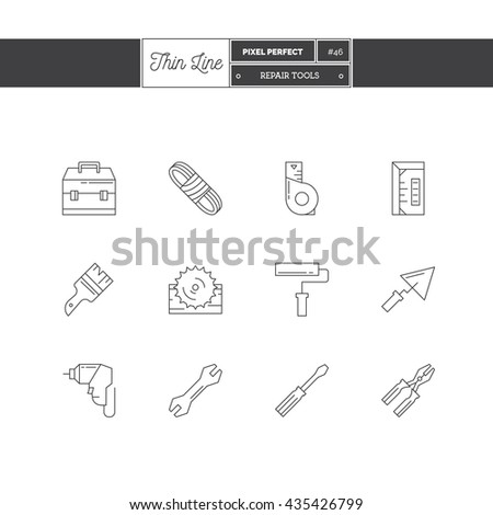 Line Icons Set of Construction icons set. Repair and Construction objects. Icons for web and mobile app. - stock vector