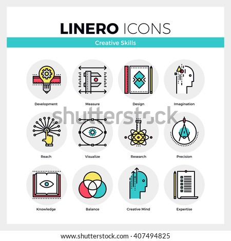 Line icons set of creative skills of mindfulness designer. Modern color flat design linear pictogram collection. Outline vector concept of mono stroke symbol pack Premium quality web graphics material - stock vector