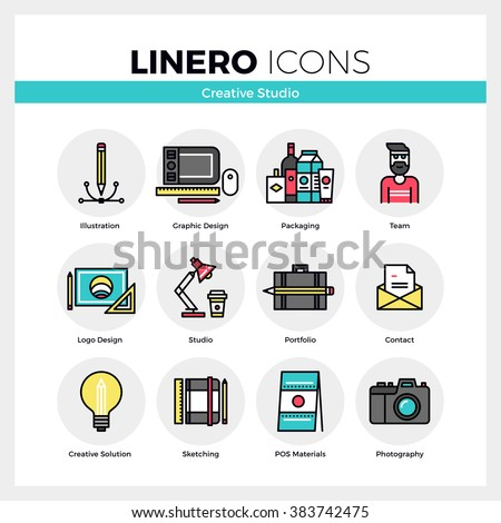 Line icons set of creative studio service creation process. Modern color flat design linear pictogram collection. Outline vector concept of stroke symbol pack. Premium quality web graphics material. - stock vector