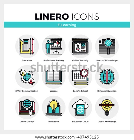 Line icons set of e-learning training, distance education. Modern color flat design linear pictogram collection. Outline vector concept of mono stroke symbol pack Premium quality web graphics material - stock vector