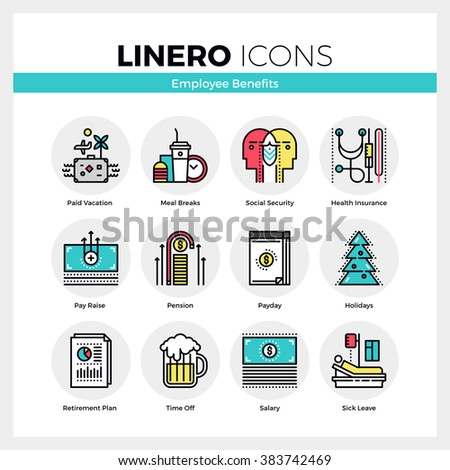 Line icons set of employee benefits in successful company. Modern color flat design linear pictogram collection. Outline vector concept of stroke symbol pack. Premium quality web graphics material. - stock vector