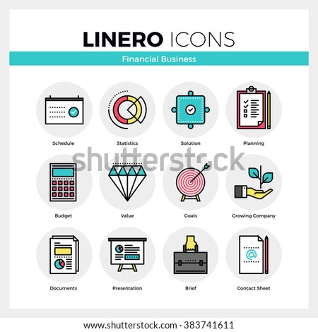 Line icons set of financial business for company growth. Modern color flat design linear pictogram collection. Outline vector concept of mono stroke symbol pack. Premium quality web graphics material. - stock vector