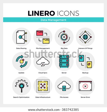 Line icons set of network data management, system backup. Modern color flat design linear pictogram collection. Outline vector concept of mono stroke symbol pack. Premium quality web graphics material - stock vector