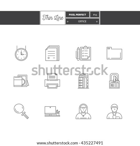 Line Icons Set of Office equipment, objects and tools elements. Logo icons. Vector illustration. Logo icons vector illustration - stock vector